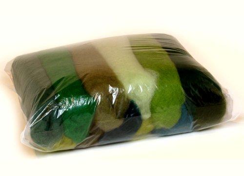 L'ensemble de Nuances de la Laine pour Feutrage, MIX Couleurs Verte, 11 Couleurs Différentes Minimum, 100g.