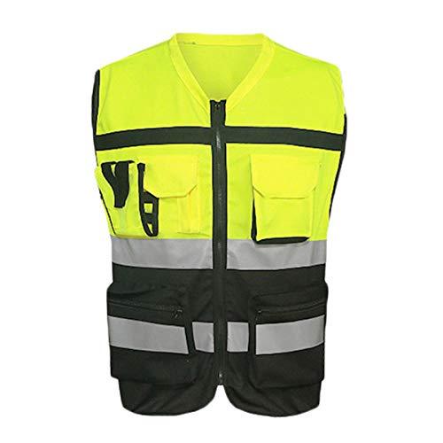 Heheng Warnschutz Arbeitsweste Dreidimensionale Tasche Design Reflektierende Weste Fahrradbekleidung, Fluorescent Yellow (XL)