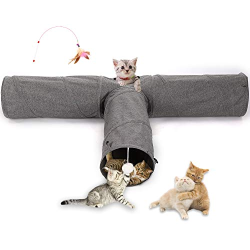 Ownpets Cats Tunnel, Large Cats Cube 3-Wege-Tunnel für Haustiere Faltbarer Cats Tube Tunnel, Hundetunnel und Röhren für Katzen, Welpen, Kaninchen und Mungos