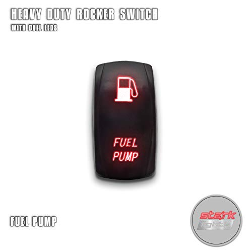 FUEL PUMP - Red - STARK 5-PIN Laser Etched LED Rocker Switch Dual Light - 20A 12V ON/OFF