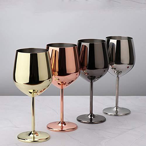 RichAmazon Copa de vino de acero inoxidable 304 vidrio de vino rojo, 500ml de calidad alimentaria jugo bebida taza anti-clinched herramienta de cocina