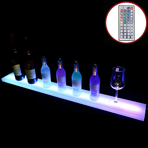 Liquor Bottle Display Shelf Home Cimmercial Bar Illuminated Wine Bottles Shelves Stand With LED Color Changing Remote Control Drinks Storage Lighting For Party,36inch