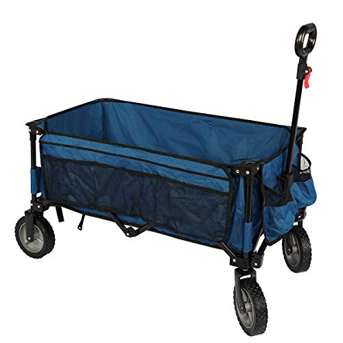 TIMBER RIDGE Collapsible Outdoor Folding Wagon Cart Heavy Duty Camping Garden Patio Shopping Cart with Side Bag Cup Holder