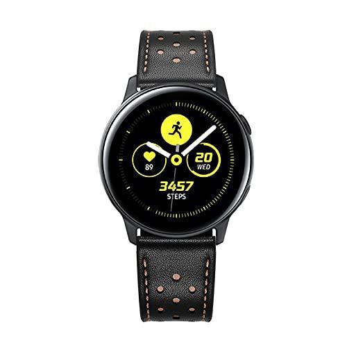 Correas de Cuero Compatibles con Samsung Galaxy Watch Active1 / 2 20 mm/Correa de Repuesto de Correa de Cuero Genuino Vintage, Accesorios de Pulsera, para Hombre y Mujer de 6.1 a 8.7 de Muñeca