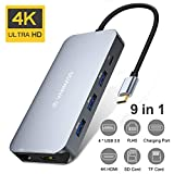 VANMASS USB C Hub 9 in 1 Aluminium USB C Adapter mit 90W PD Anschluss 4K HDMI 4 USB 3.0 Port SD/TF...