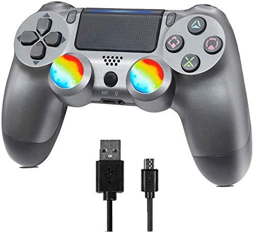 Mando inalámbrico para PS4 - Joystick remoto para Sony Playstation 4/Windows PC /Android/iOS, Acero Negro (Steel Black)