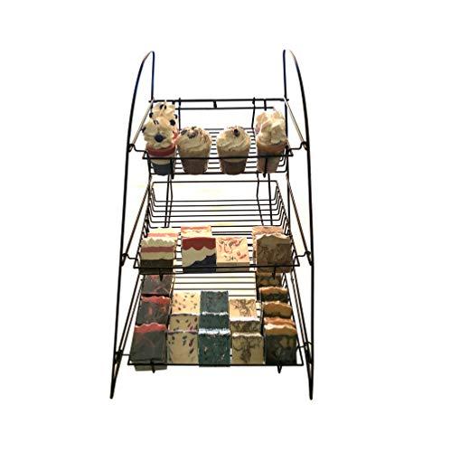 FixtureDisplays 3-Tier Wire Display Rack Bakery Snacks Confection Tray Display Countertop Stand Black 120047