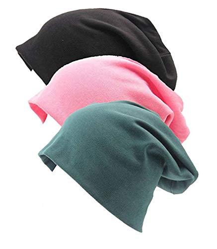 Gellwhu Unisex Cotton Beanies Soft Sleep Cap for Hairloss Cancer Chemo 3 - Pack (Pack A)