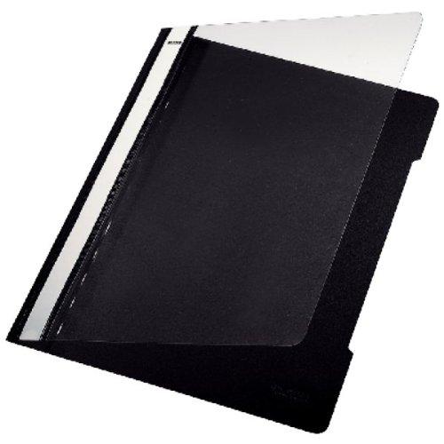 Leitz Schnellhefter halbstarres PVC transparenter Vorderdeckel 20 mm Beschriftungsfeld A4 25 Stück schwarz