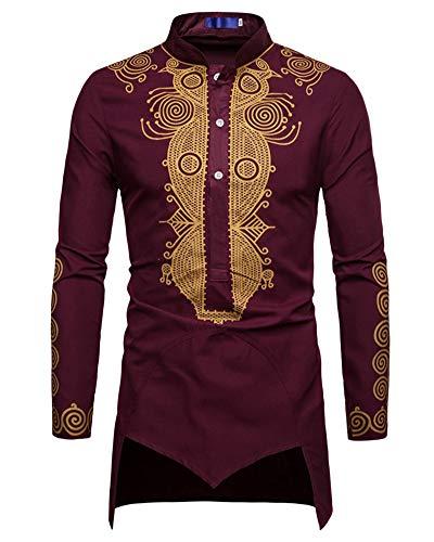 Hombre Camiseta de Manga Larga Estampado Africano Dobladillo Irregular Collar de Pie Botón Camisetas Tops Vino Rojo XXXL