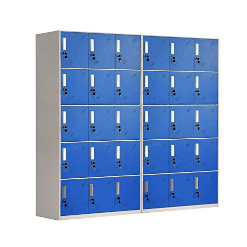 Racking Solutions 2 taquillas de almacenamiento de metal de 15 puertas, unidades de acero azul y gris, para el personal del gimnasio y la escuela