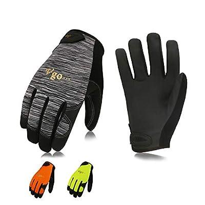 Vgo 3 Pairs High Dexterity Touchscreen PU Leather Work Gloves Multipurpose(Grey,Fluorescent Pigment Orange,Fluorescent Green,PU8718)