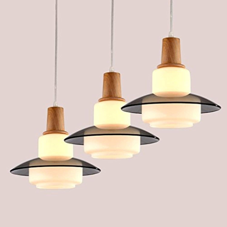 GCCI Einfache Restaurant Lustre Moderne geführte Taschenlampen-hlzerne kreative Kunst-Leuchter-Leuchter-DREI Mahlzeiten