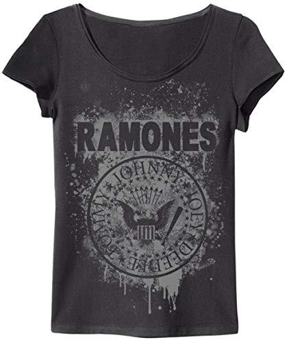 Amplified Damen T-Shirt (Ramones Graffiti, Charcoal, XS)