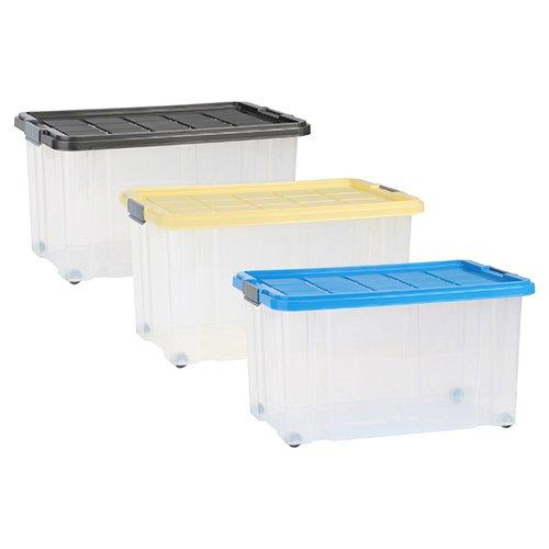 axentia Aufbewahrungsbox mit Rollen & Deckel, Stapelbox aus Kunststoff 55 Liter, Eurobox transparent, Maße: ca. 60 x 40 x 34 cm, Anthrazit, blau oder gelb - Farbe nicht wählbar
