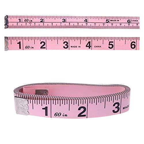 KGMIXL Cinta métrica, 150 cm 60'Mida de Vinilo Mida Herramienta de Sastre CM/Inch Ropa Mida Medida Regla Ruler Hips Tamaño de la Cintura Cinta estándar Herramientas de medición (Color : Pink)