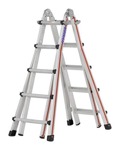 Hymer Teleskopleiter TELESTEP 4x5  (18 Sprossen, Anlegeleiter, Stehleiter, höhenverstellbar 25 cm Schritte) 804220