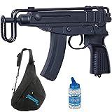 Subfusil VZ61 Scorpion Black | Arma de Airsoft (Bolas de PVC) de Sistema eléctrico (batería) semiautomática + Mochila + biberón
