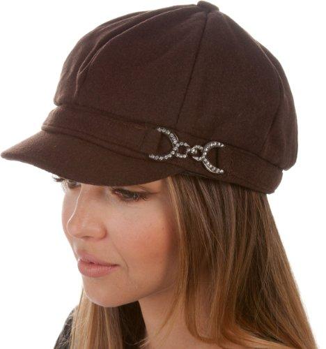 Sakkas 305BC Jessica Wool Newsboy Cabbie Hat - Chocolate - One Size