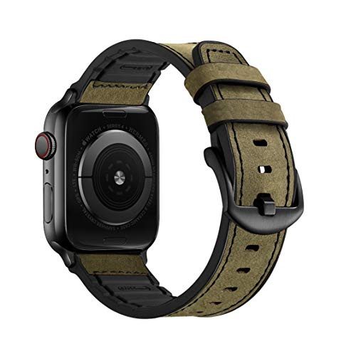 Mifa Compatible w/ Apple Watch Band 44mm 42mm Series 5 4 3 Rugged Hybrid Sports Leather Vintage Dressy Dark Replacement Strap Sweatproof iwatch Nike Space Black Grey Men Military Green