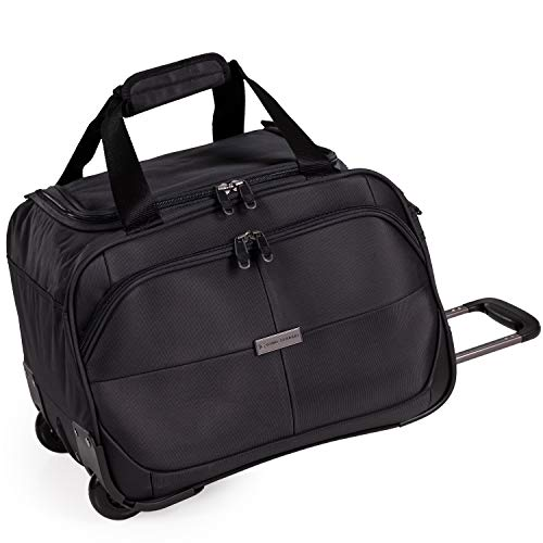 Small Lightweight Holdall with Wheels - Overnight Roller Bag by Gino Ferrari | Durable Stress Tested Skate Wheels | Carry, Grab or Pull Trolley Handle | 36L Cap Light 1.6kg (Black, Holdall)