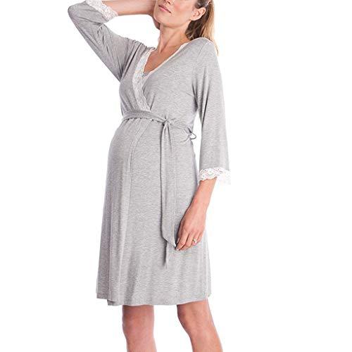 Camis/ón Lactancia Hospital Vestido Embarazada Maternidad Pijama Premama Oto/ño Invierno Algodon Manga Larga Ropa Doble Capa para la Alimentaci/ón Parto S-2XL