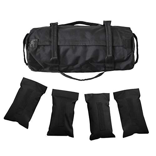 Sandbag Regolabile per Allenamento con i Pesi Sandbag con 4 Pezzi di Borsa di riempimento Regolabile per allenamenti Cross-Training, Fitness e condizionamento Militare Nero