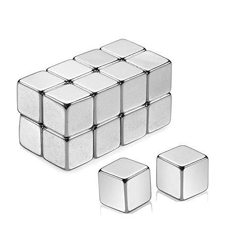 16 pièces aimants en néodyme cube extra fort ensemble, aimants cubiques pour tableaux magnétiques en verre pin board tableau blanc école professeur carte,avec conteneur de stockage (10x10x10mm)
