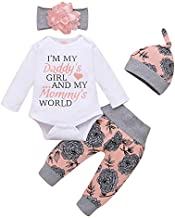 Toddler Girl Clothes Long Sleeve Fall Outfit Daddys Little Girl Baby Clothes Rose Flower Pant Girl Boutique Clothing Set 12-18 Months