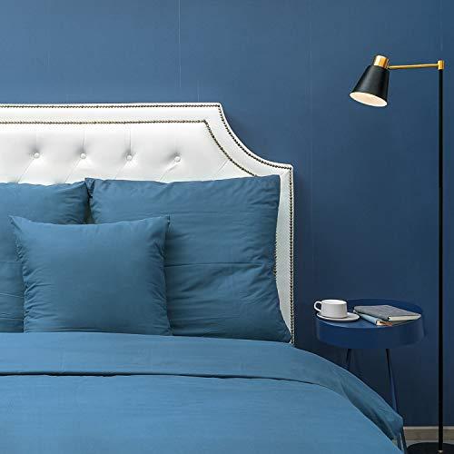 HOMFY Mikrofaser Bettwäsche, EIN Bettbezug 155x220cm im Set mit 1 Kissenbezüge 80x80cm in Tollen Reinen Farben, elegant mit Hotelcharakter (Navy blau, 155x220cm)
