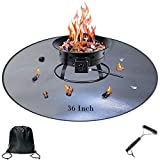 Fire Pit Mat, 36 Inch Fire Pit Pad Deck Protector Washable Fireproof, Under Grill Mats Round for Grass, Patio, Ground (36inch) (36in)