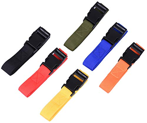 6 Pack Luggage Nylon Straps with Quick Release Buckle Utility Straps for Travel Packing Outdoor Sports 2.5 x 150cm (Multicolour)