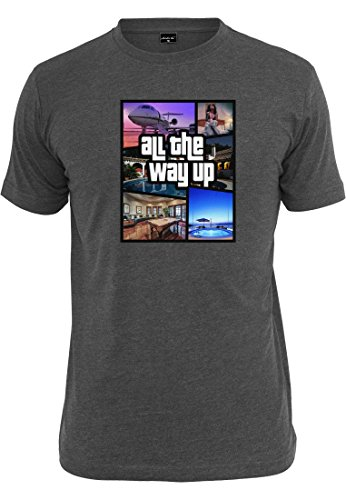 Mister Tee Herren All the Way Up Mashup T-Shirts, Charcoal, S