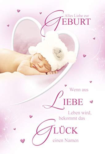 Geburtskarte Mädchen | Geburt Baby Karte | Karte zur Geburt | Geburtskarten Baby | Baby Karte Geburt | Karte Baby im Set | Karte in Folie | DIN A6 | Klappkarte inkl. Umschlag | Motiv: Girl