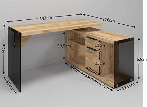 Marca Amazon -Movian Salto - Escritorio esquinero, 141,8 x 116,5 x 74cm, efecto de roble y...