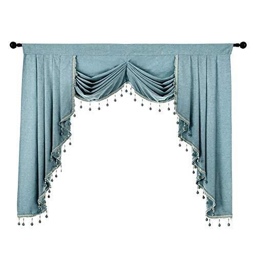 NAPEARL Premium Waterfall Valance for Curtains, Curtains Valances and Swags for Living Room, Thick Kitchen Window Valance with Custom Beads ( 1 Blue Valance, 61-Inch Wide )