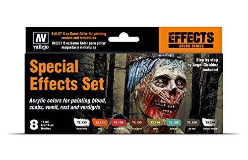 Acrylicos Vallejo Game Effects - Set di 8 Colori Acrilici per Effetti Speciali, Multicolore