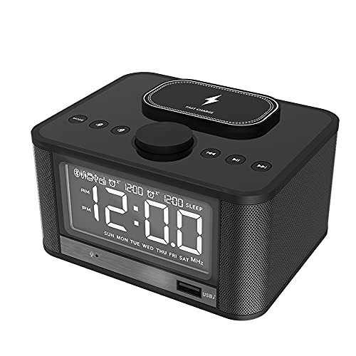 MX kingdom Altavoz Bluetooth inalámbrico con Doble Alarma, Radio FM con Mando a Distancia, Base de Carga giratoria Carga y reproducción