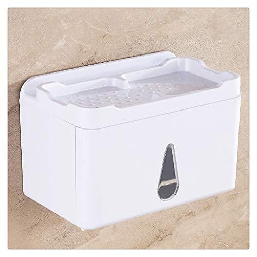 ZHUSHI Tenedor de papel higiénico multifuncional impermeable, toalla de papel de almacenamiento de gran capacidad, estante a prueba de polvo, soporte de toalla de papel duradero, caja de almacenamient