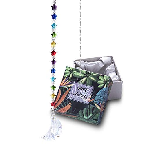 H&D HYALINE & DORA Kristall Regenbogen Sonnenfänger Chakra Stern Perlen mit Mond Prisma Ornament hängenden Fenster Anhänger