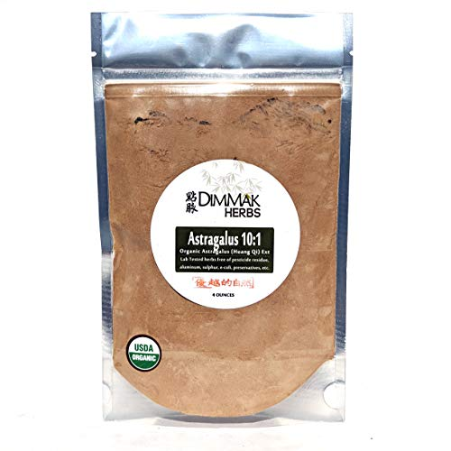 Organic Astragalus 10:1 Extract Powder 4oz   Huang Qi 10:1 Concentrate Granules   Lab Tested, USDA Organic, No Other Ingredients w Amazing Taste Astragalus by Dimmak Herbs
