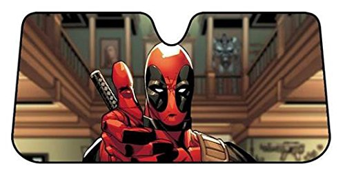 Plasticolor 003711R01 Marvel Deadpool Thumbs Up Accordion Style Car Truck SUV Front Windshield Sunshade