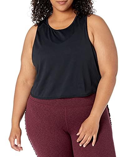 Core 10 Women's Plus Size Jacquard Mesh Workout Cropped Tank, Black, 1X
