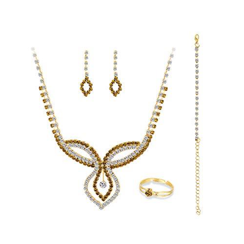 Ruby569y Pendientes colgantes para mujeres y niñas, collar de diamantes de imitación de moda, pulsera y anillo de joyería de boda - A