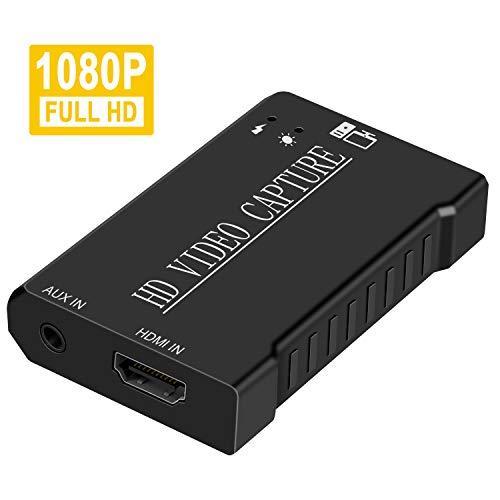 DIGITNOW Videoaufnahmekarte HDMI zu USB - 1080P 60fps Capture streamen, aufnehmen und Teilen - USB 2.0 Video Capture Karte, unterstützt Videoaufzeichnung Live-Übertragungen