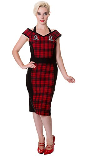 Banned–Vestido Tartan Swallows Pencil Dress 5024 Rojo Small