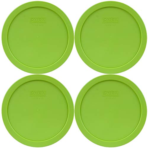 Pyrex 7402-PC Edamame Green Plastic Food Storage Replacement Lid - 4 Pack