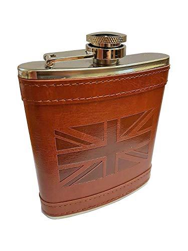 Edelstahl Flachmann Union Jack braun Leder Cover - Pocket Schnabelkanne/für Whisky Wodka Rum Spirituosen/Geschenkidee für Männer oder Frauen/Junggesellen Party/ London UK Britische Souvenir