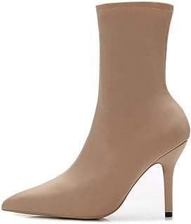 7a350de3 mogeek Botines de Altos Tacón Mujer Mode Botas elásticas