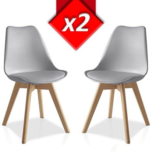 VS Venta-stock Pack 2 sillas Lucia, Pata Madera y Asiento Acolchado, Estilo nordico